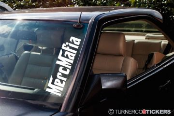 ' Merc Mafia ' Large Mercedes Benz windscreen stickers decals - for low 190e / w124 / w202